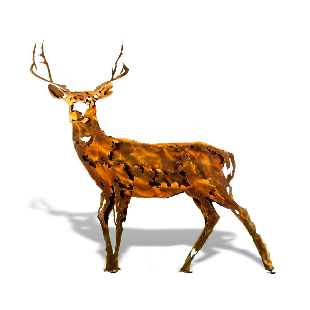 Deer Buck - Contemporary Large Stake Metal Artwork with Brown Patina Finish Form