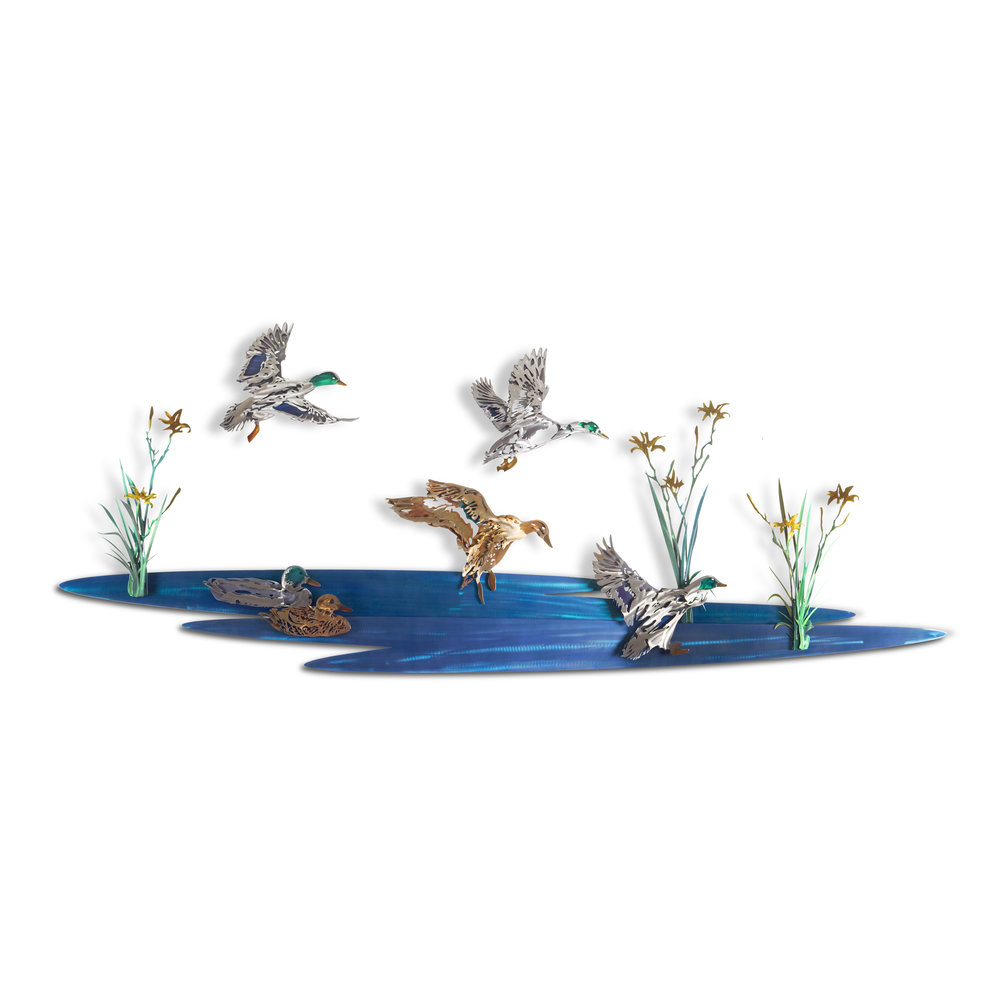 Mallard Pond Mural - Exquisite Multicolored Metal Artwork for the Home Form