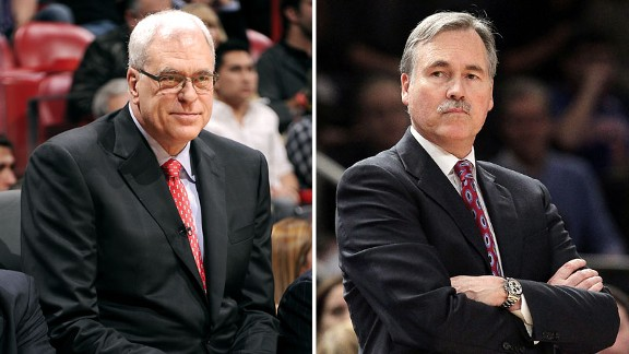 Phil Jackson, Knicks President (L) and Mike D'Antoni, former Knicks coach.