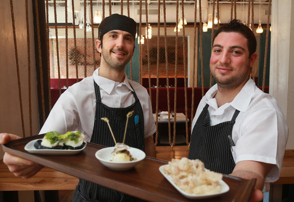 Co-executive chefs of SRV -- Kevin O'Donnell (L) and Mike Lombardi. Photo via Matt West, Boston Herald.