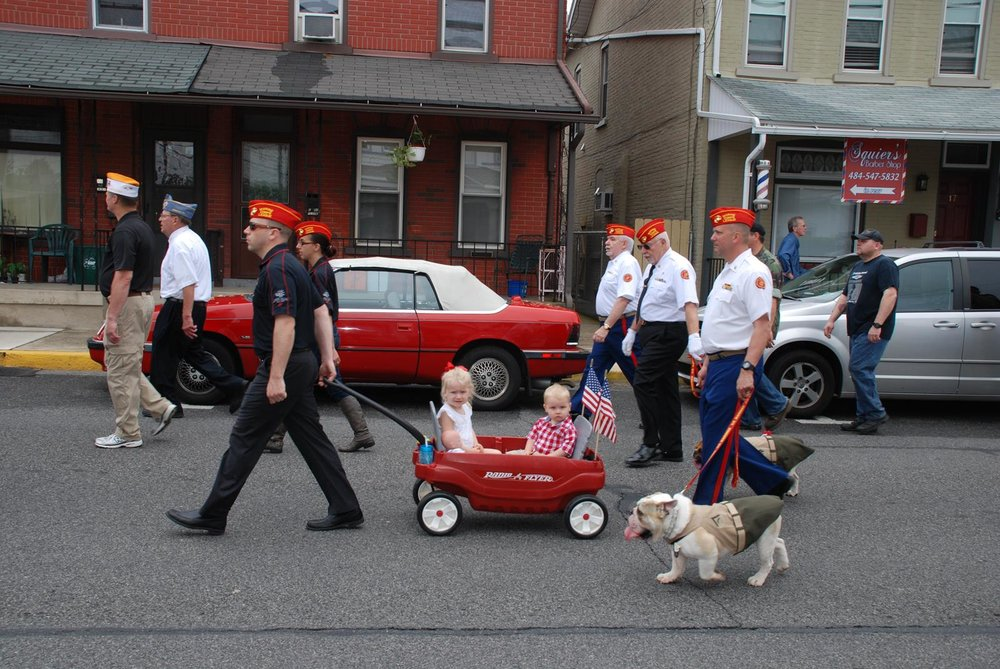 Detachment members and their families participating in the 2016 Emmaus  Memorial Day Parade.