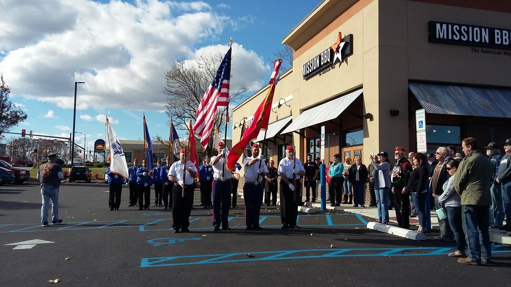 Detachment 296 Color Guard preforming at the Mission BBQ Veterans Day Ceremony.