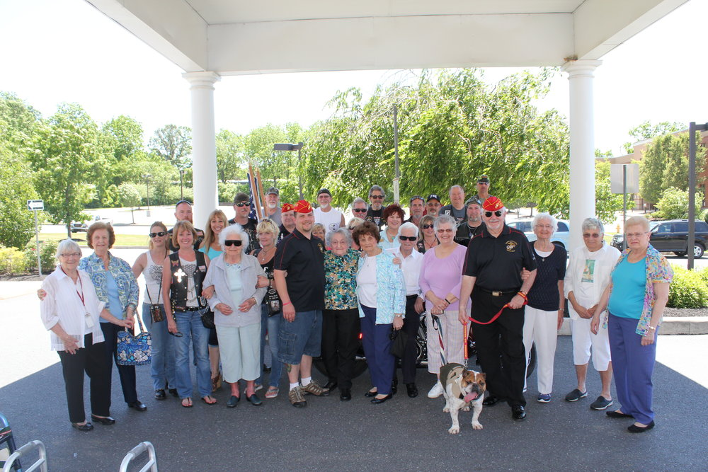 Detachment 296 partnered up with the Warriors Watch Riders on a visit to the Traditions of Hanover Nursing Home.