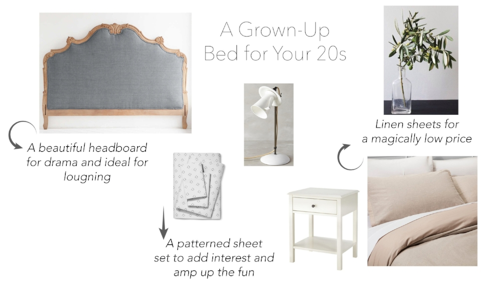 Bed / Sheets / Lamp / Nightstand / Duvet