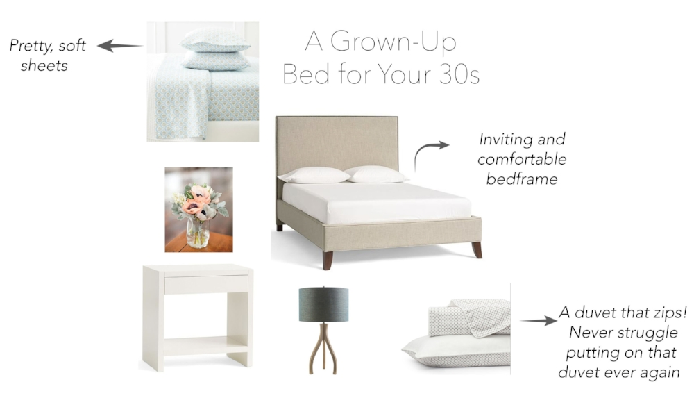 Sheets  (similar)/ Nightstand / Bedframe / Lamp / Duvet
