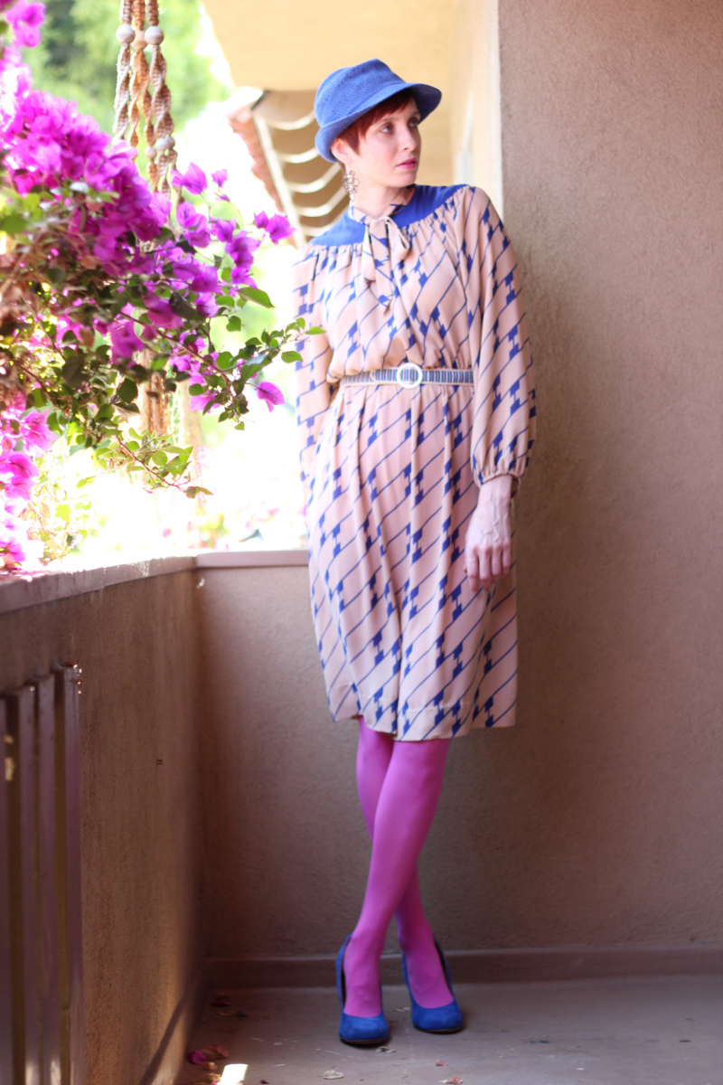 cobalt blue print secretary dress_1.jpg