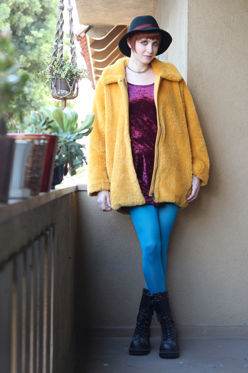purple velvet dress yellow furry jacket_3.jpg