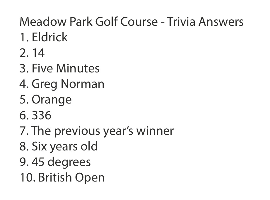 Meadow Park Trivia Answers