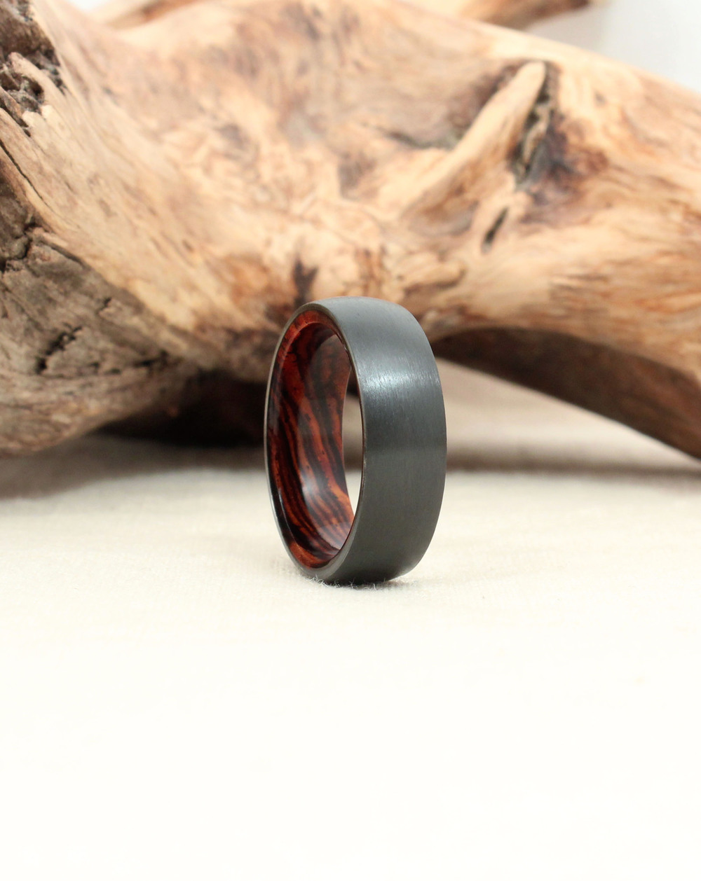 Black Zirconium and Cocobolo Wood Ring