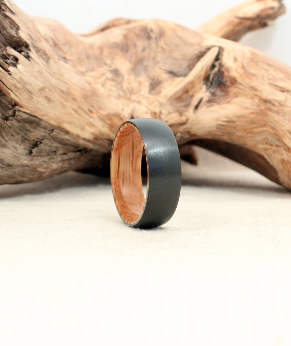 Black Zirconium and Jack Daniels Barrel Oak Wooden Ring