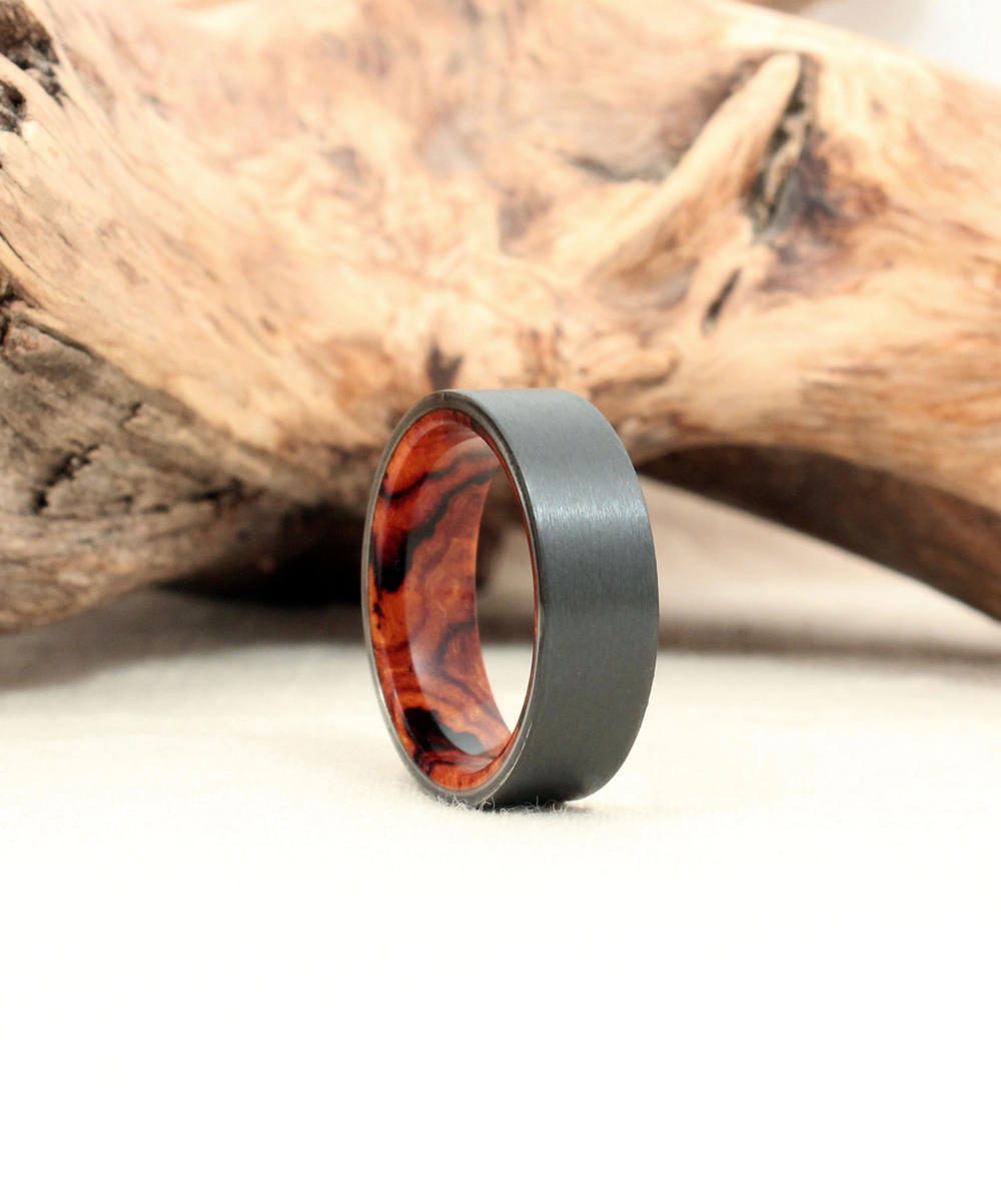 Black Zirconium and Arizona Desert Ironwood Burl Wooden Ring