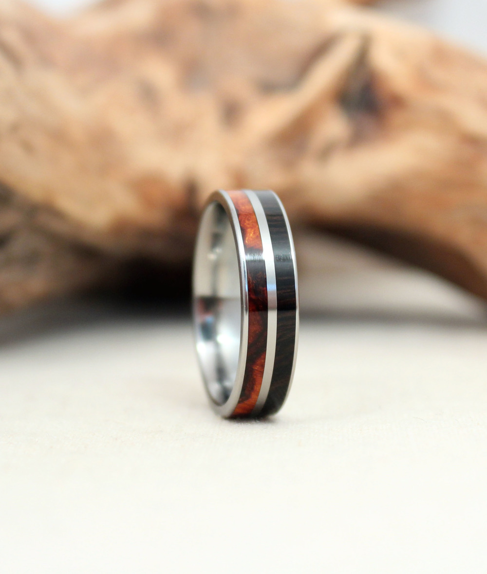 Double channel – Arizona Desert Ironwood and African Blackwood Titanium Ring
