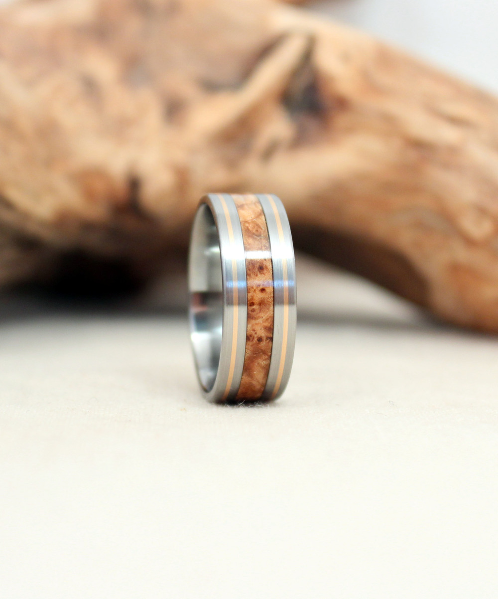 Black Ash Burl, Titanium, and Gold Ring Wooden Ring
