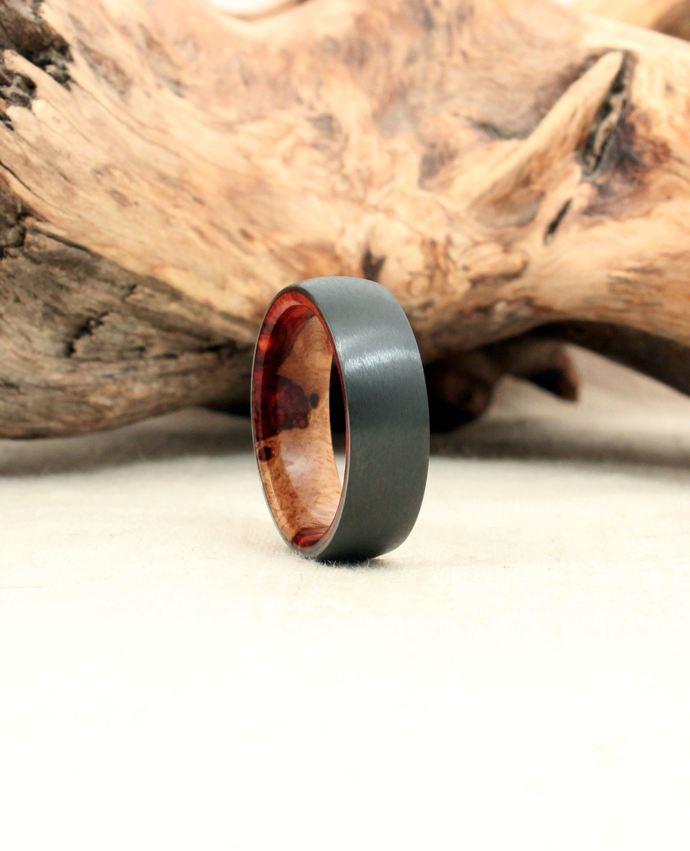 Black Zirconium and Amboyna Burl Wood Ring