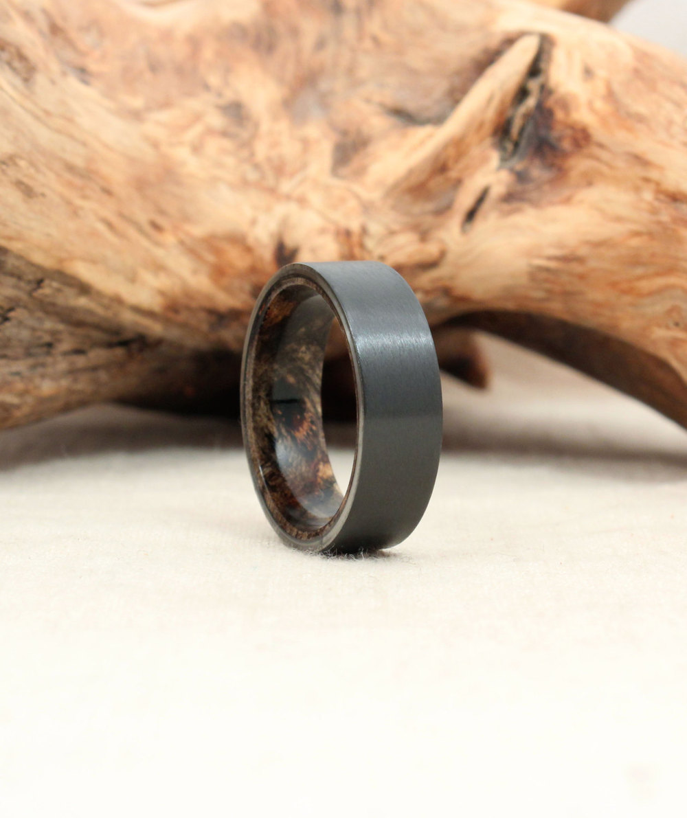 Black Zirconium and Buckeye Burl Wooden Ring