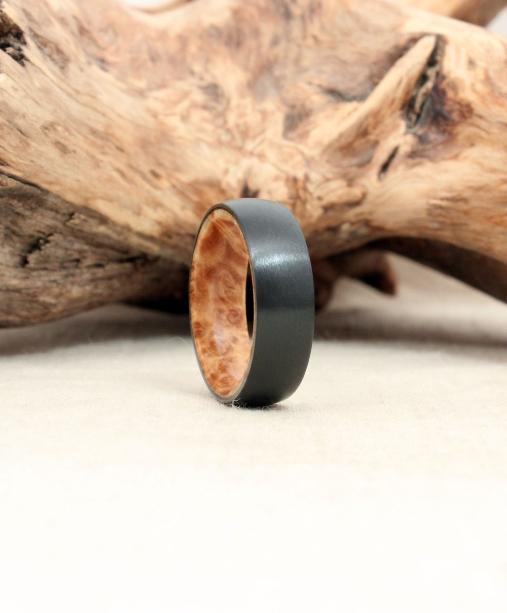 Black Zirconium and Black Ash Burl Wood Ring