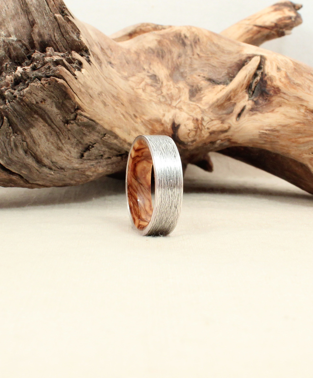Bethlehem Olivewood and Textured, Rusticated Fine Silver