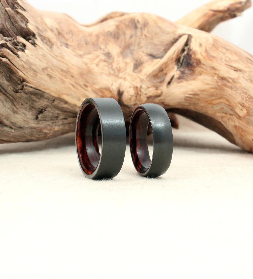 Black Zirconium and Cocobolo Wood Rings