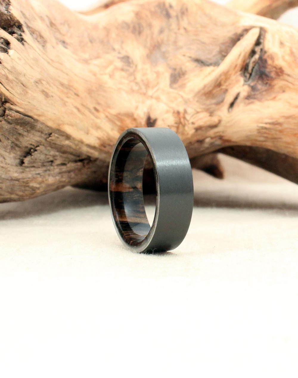 Black Zirconium and Ancient Russian Bog Oak Wood Ring