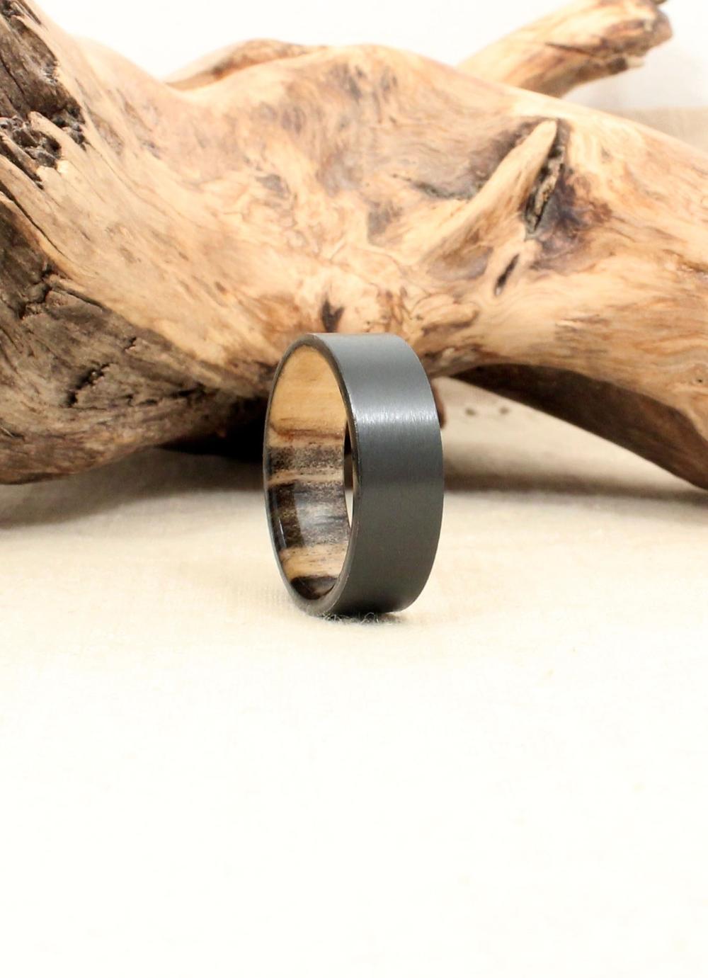 Black Zirconium and Beetle Kill Pine Wood Ring