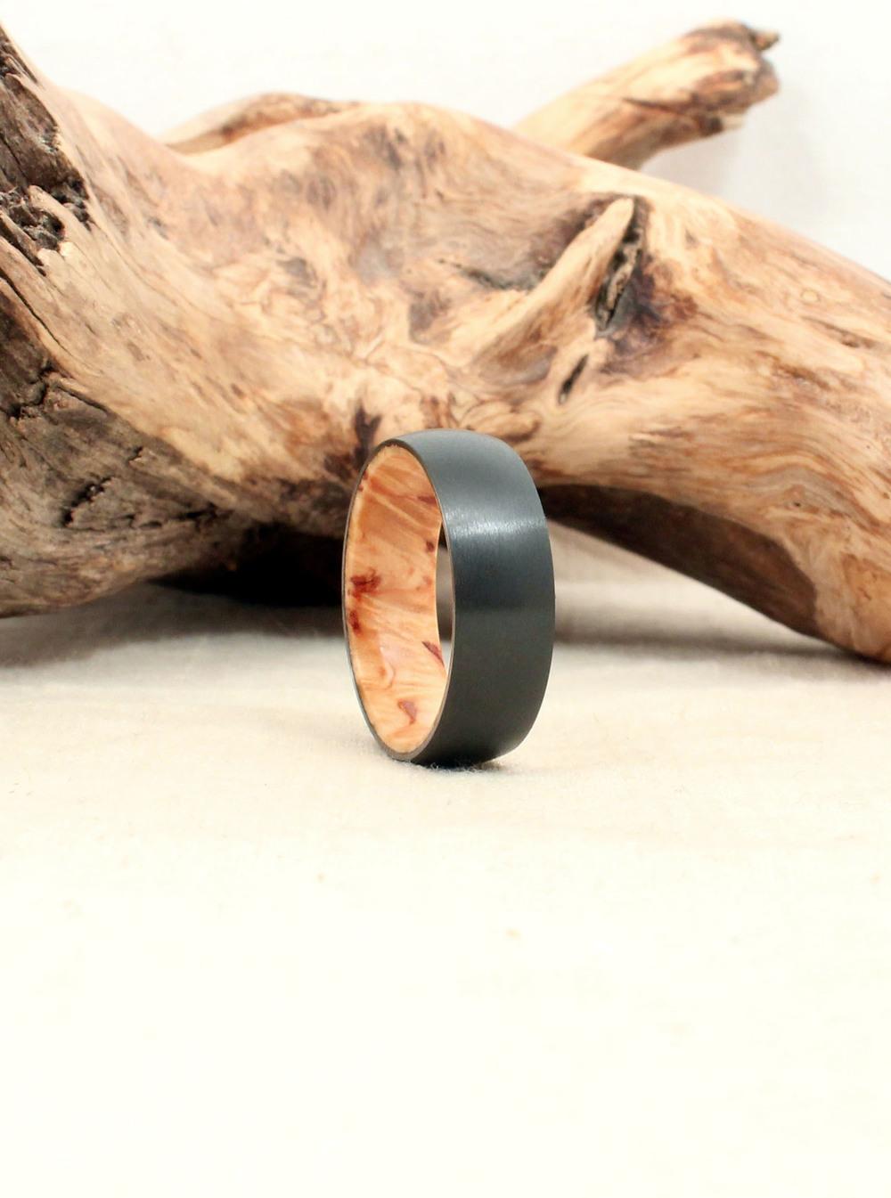 Black Zirconium and Karelian Birch Wood Ring