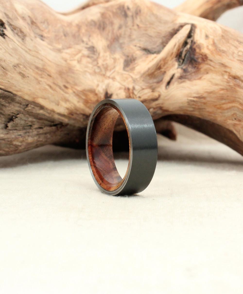 Black Zirconium and Pistachio Wood Ring