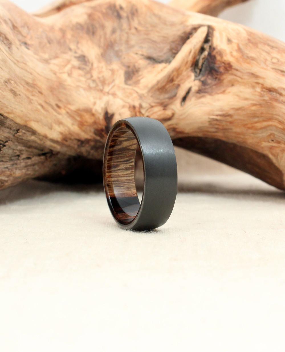 Black Zirconium and Pheasantwood Wood Ring