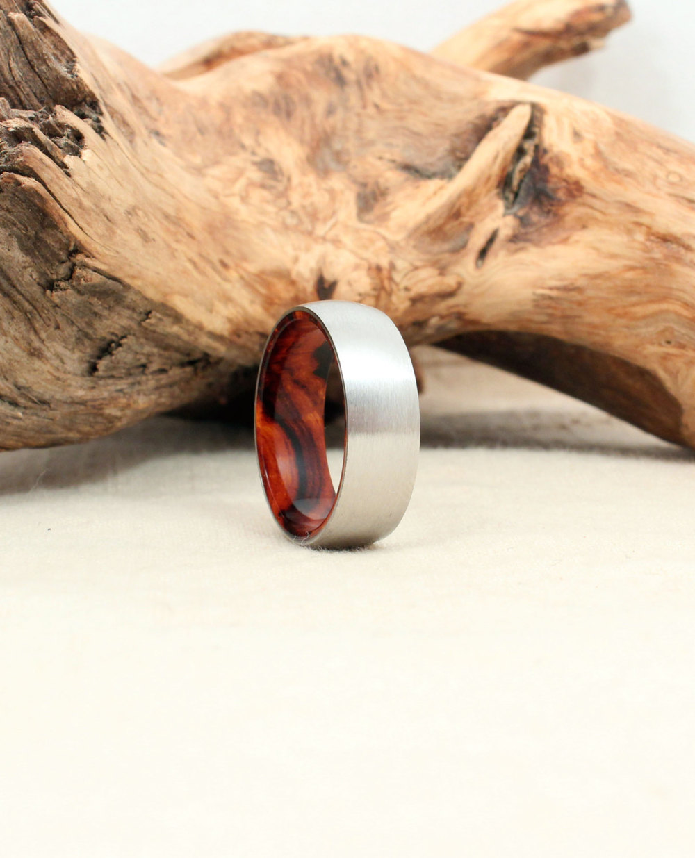 Cobalt Wood Ring Lined with Arizona Desert Ironwood Burl