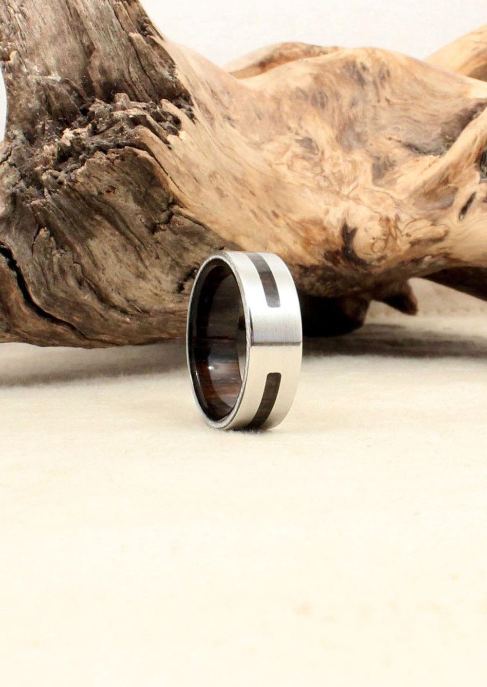 Bog Oak and Cobalt Wood Ring