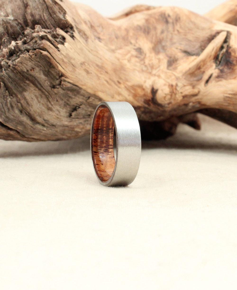Cobalt Wooden Ring Lined with Hawaiian Koa