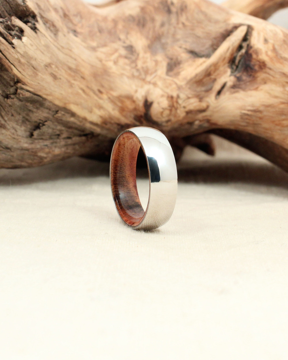 Cobalt Wooden Ring Lined with Pistachio