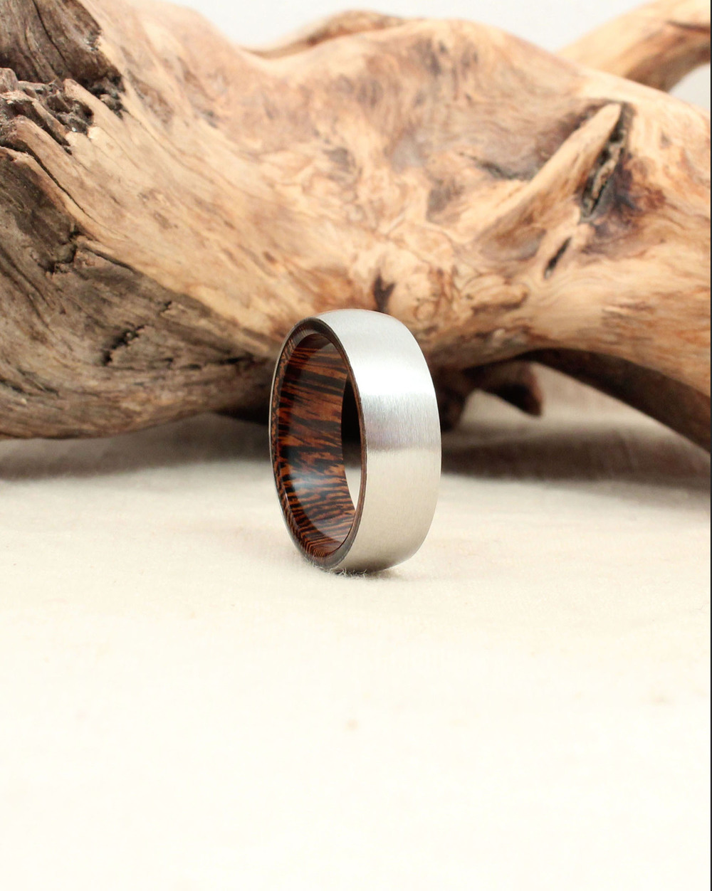 Cobalt Wood Ring Lined with Pheasantwood