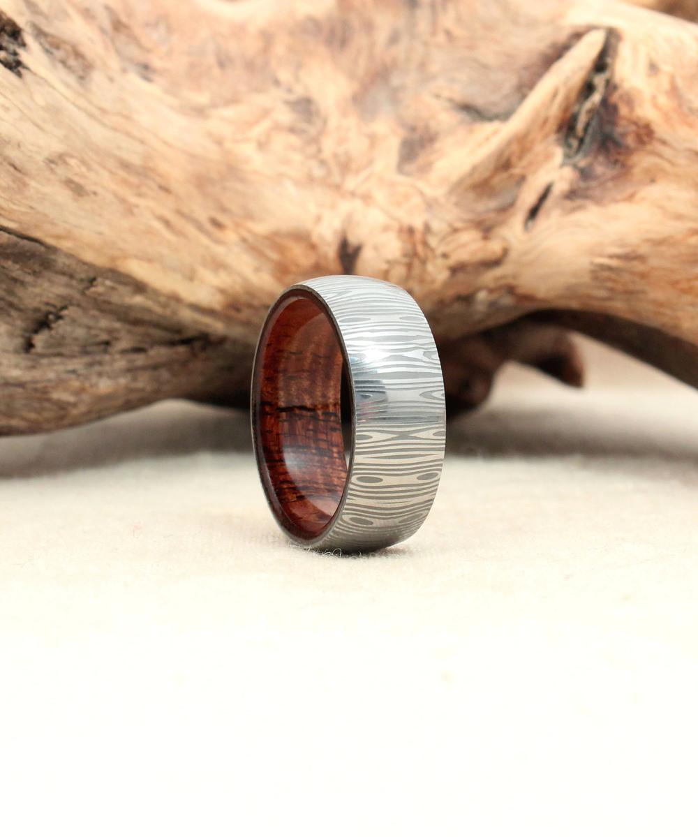 damascus steel wooden rings damascus steel wedding bands Damascus Steel Ring With Hawaiian Curly Koa