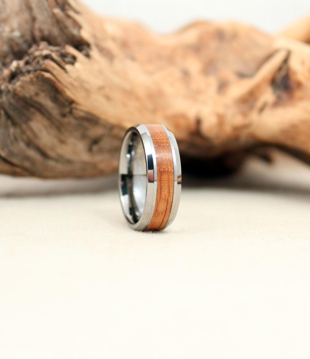Tungsten Carbide and Bourbon Barrel Oak Wooden Ring