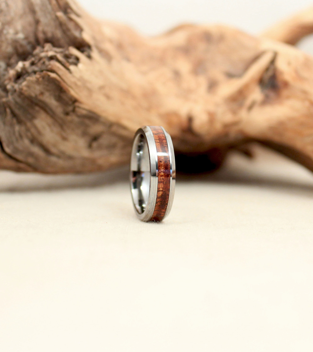Tungsten Carbide and Exhibition Hawaiian Koa Wood Ring