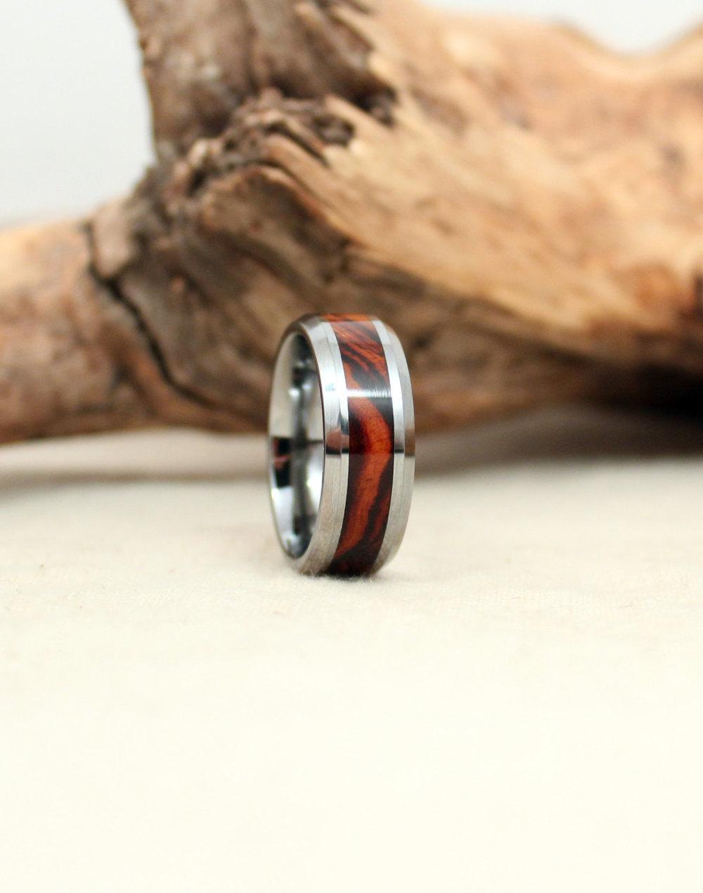 Tungsten Carbide and Arizona Desert Ironwood Burl Wooden Ring