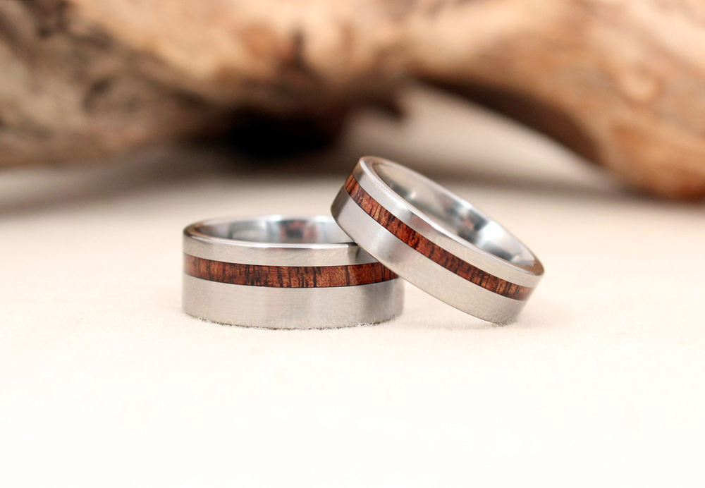 Offset Hawaiian Curly Koa Titanium Rings