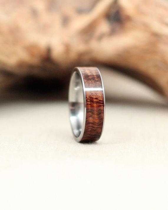 Hawaiian Curly Koa Titanium Ring