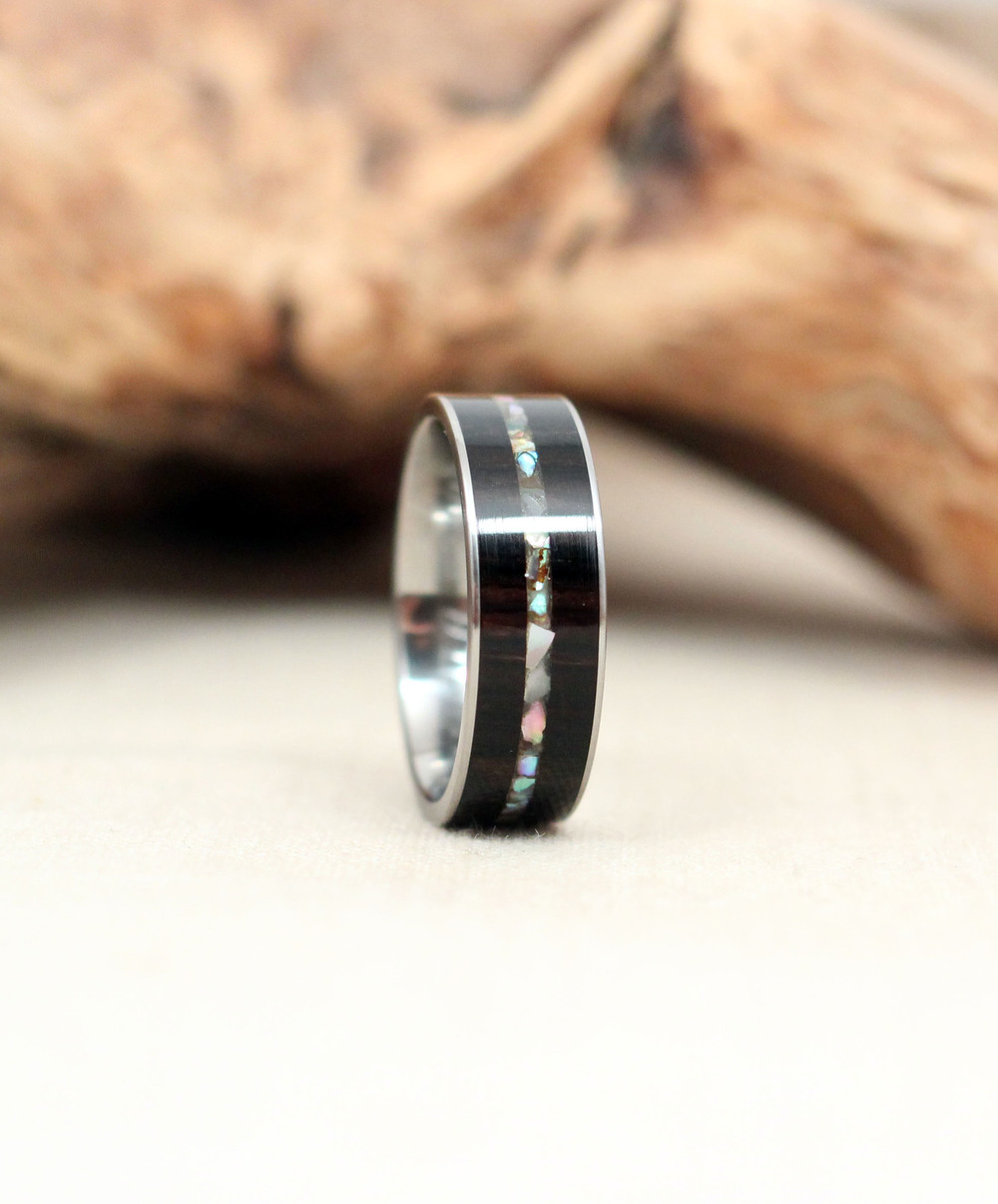 African Blackwood with Inlaid Mother of Pearl Titanium Ring