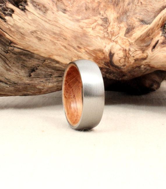 Titanium Ring with Jack Daniels Barrel Oak Wood Ring