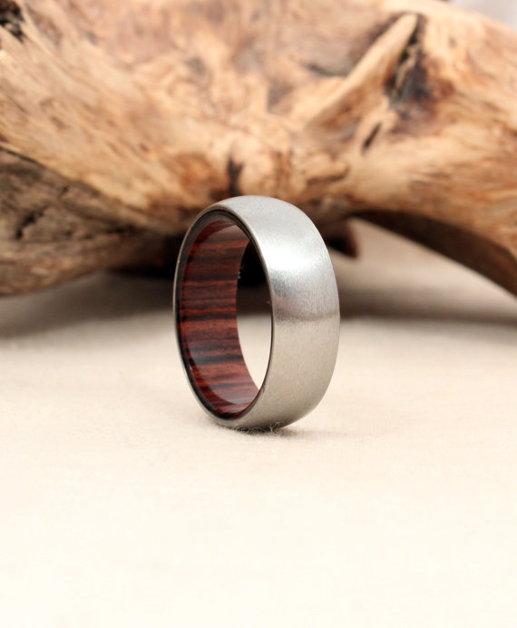 Titanium and Kingwood Wooden Ring