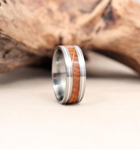Jack Daniels Barrel Oak with Silver Double Pinstripes Titanium Ring