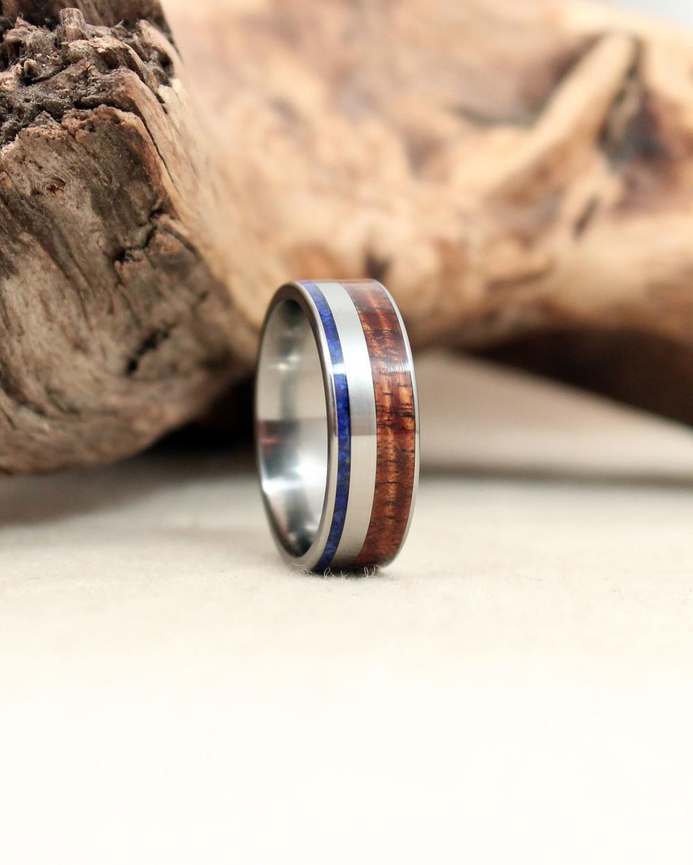 Hawaiian Curly Koa and Lapis Lazuli Titanium Ring