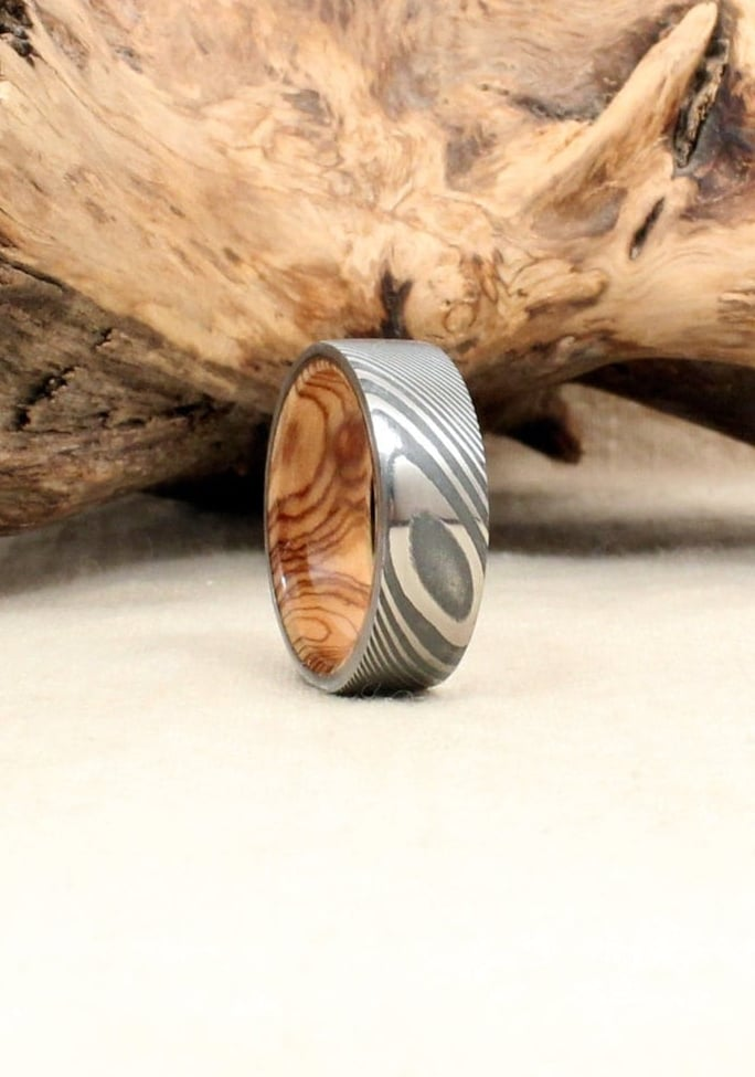 Hand Wrought Twisted Damascus Steel Wood Ring With Bethlehem Olivewood