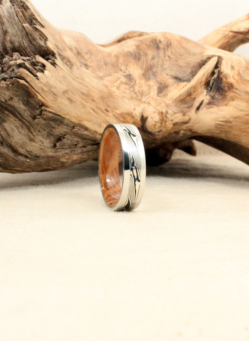 Cobalt Mokume-gane Whiskey Barrel Oak Wooden Ring