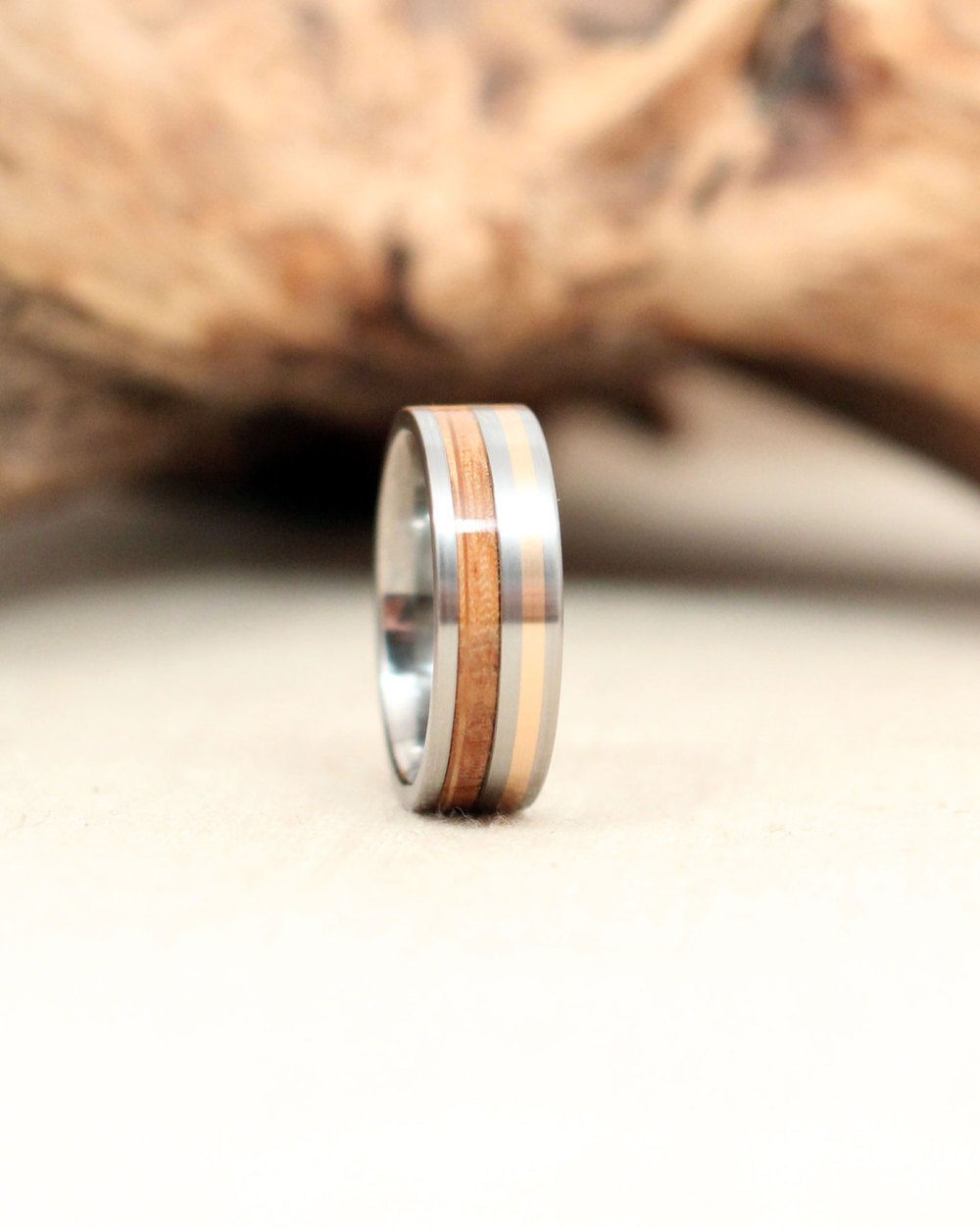 Wooden Ring with Titanium and Gold - Bourbon Barrel Stave White Oak Wooden Ring