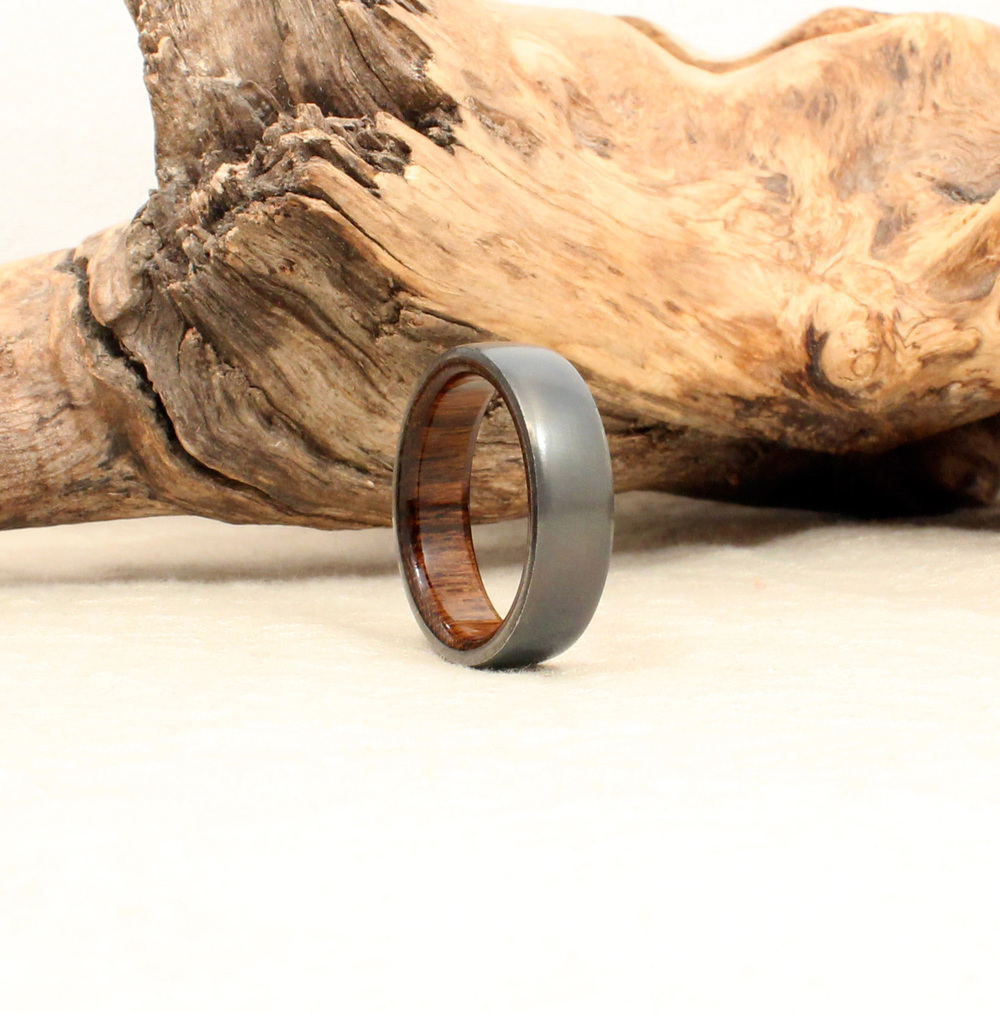 rings inlaid and lightweight edges band titanium wedding original inlay teak polished ring durable product wooden fit beveled store wood simple comfort steel with