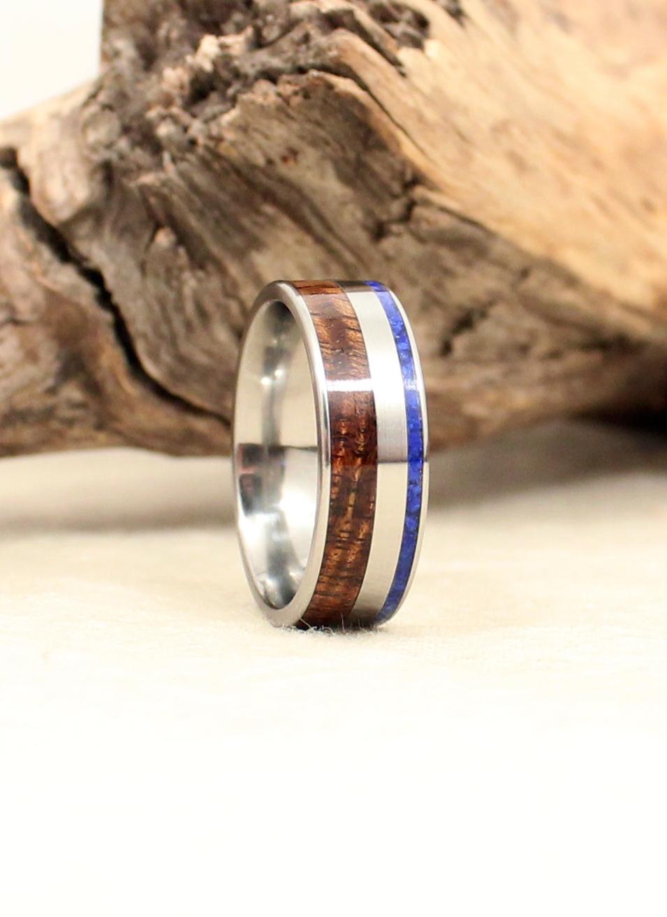 Hawaiian Koa Wooden Ring and Lapis Lazuli Deconstructed Titanium