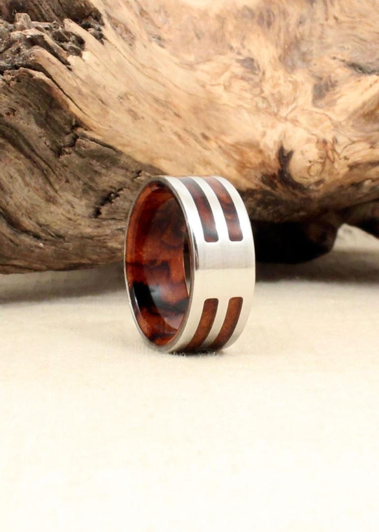 Desert Ironwood Burl and Cobalt Wood Ring