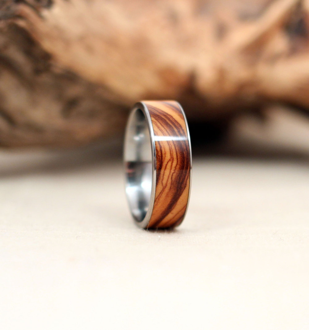 bethlehem olivewood inlay wooden ring lined with titanium - Mens Wooden Wedding Rings